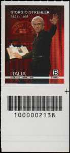 Giorgio Strehler  - Centenario della nascita - francobollo con codice a barre n° 2138 in BASSO a destra