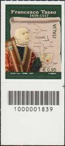 5° Centenario della morte di Francesco Tasso - francobollo con codice a barre n° 1839