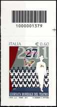 Italia 2011 - Giornata mondiale del teatro - codice a barre n° 1379