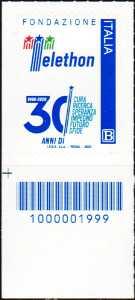 Fondazione Telethon - 30°  Anniversario di attività - francobollo con codice a barre n° 1999 in BASSO a sinistra