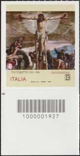 Il Tintoretto -  5° Centenario della morte - francobollo con codice a barre n° 1927 in BASSO a sinistra
