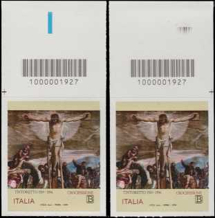 Il Tintoretto -  5° Centenario della morte - coppia di francobolli con codice a barre n° 1927 in ALTO destra-sinistra