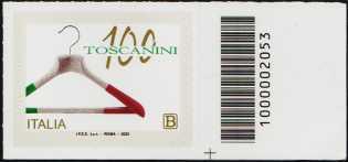 Industrie Toscanini S.r.l. - Centenario della fondazione - francobollo con codice a barre n° 2053 a DESTRA in basso