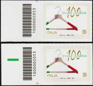 Industrie Toscanini S.r.l. - Centenario della fondazione - coppia di francobolli con codice a barre n° 2053 a SINISTRA alto-basso