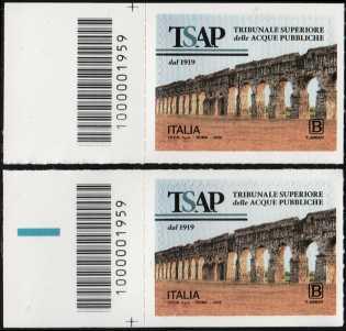 Tribunale Superiore delle Acque Pubbliche - Centenario della istituzione - coppia di francobolli con codice a barre n° 1959 a SINISTRA alto-basso