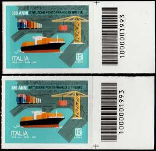 Eccellenze del sistema produttivo ed economico - Porto Franco di Trieste - 3° Centenario della istituzione - coppia di francobolli con codice a barre n° 1993 a DESTRA alto-basso