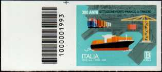 Eccellenze del sistema produttivo ed economico - Porto Franco di Trieste - 3° Centenario della istituzione - francobollo con codice a barre n° 1993 a SINISTRA in alto