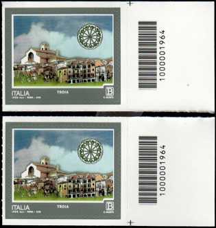 Turistica - 46ª serie  - Patrimonio naturale e paesaggistico : Troia  ( FG ) - coppia di francobolli con codice a barre n° 1964  a DESTRA alto-basso