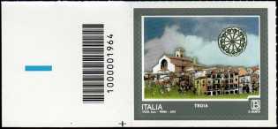 Turistica - 46ª serie  - Patrimonio naturale e paesaggistico : Troia  ( FG ) - francobollo con codice a barre n° 1964  a  SINISTRA in basso