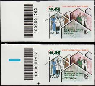 A.N.T. - Associazione Nazionale Tumori - 40° Anniversario della fondazione  - coppia di francobolli con codice a barre n° 1902 a SINISTRA alto-basso