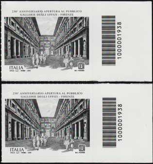 Gallerie degli Uffizi di Firenze - 250° Anniversario della apertura al pubblico - coppia francobolli con codice a barre n° 1938 a DESTRA alto-basso