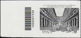 Gallerie degli Uffizi di Firenze - 250° Anniversario della apertura al pubblico - francobollo con codice a barre n° 1938 a SINISTRA in alto
