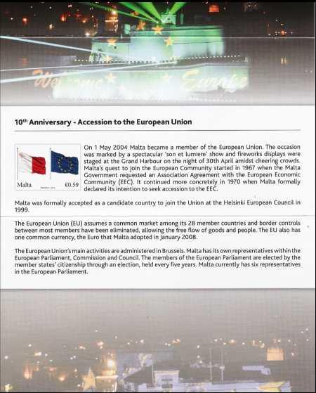 Malta 2014 - 10° Anniversario dell'ingresso di Malta nell'Unione Europea - folder