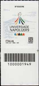 Universiadi estive - 30 a  edizione - Napoli - francobollo con codice a barre n° 1949 in BASSO a destra