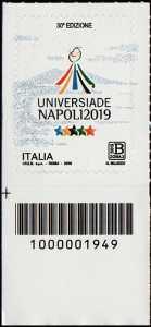 Universiadi estive - 30 a  edizione - Napoli - francobollo con codice a barre n° 1949 in BASSO a sinistra