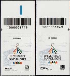 Universiadi estive - 30 a  edizione - Napoli - coppia di francobolli con codice a barre n° 1949 in ALTO destra-sinistra