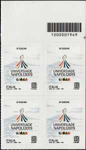 Universiadi estive - 30 a  edizione - Napoli - quartina con codice a barre n° 1949