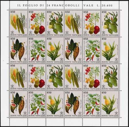 Vaticano 1992 - Flora del nuovo mondo - minifoglio