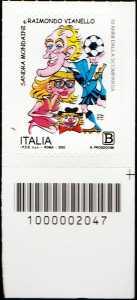 Sandra Mondaini e Raimondo Vianello - 10° Anniversario della scomparsa - francobollo con codice a barre n° 2047 in BASSO a destra