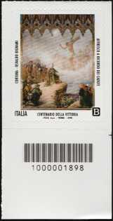 Centenario della Vittoria - francobollo con codice a barre n° 1898 in BASSO a destra