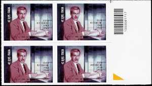 50° Anniversario della morte di Elio Vittorini - quartina con codice a barre n° 1717