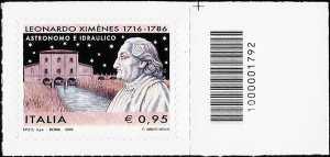 3° Centenario della nascita di Leonardo Ximènes - francobollo codice a barre n° 1792