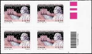 3° Centenario della nascita di Leonardo Ximènes - quartina codice a barre n° 1792