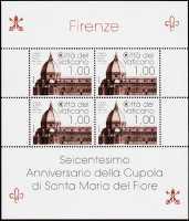 Vaticano 2018 -  600° Anniversario della cupola di Santa Maria del Fiore a Firenze - minifoglio