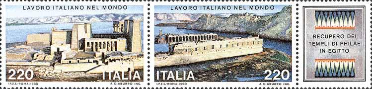 Lavoro Italiano nel mondo - 1ª serie - recupero dei templi di Philae - blocco