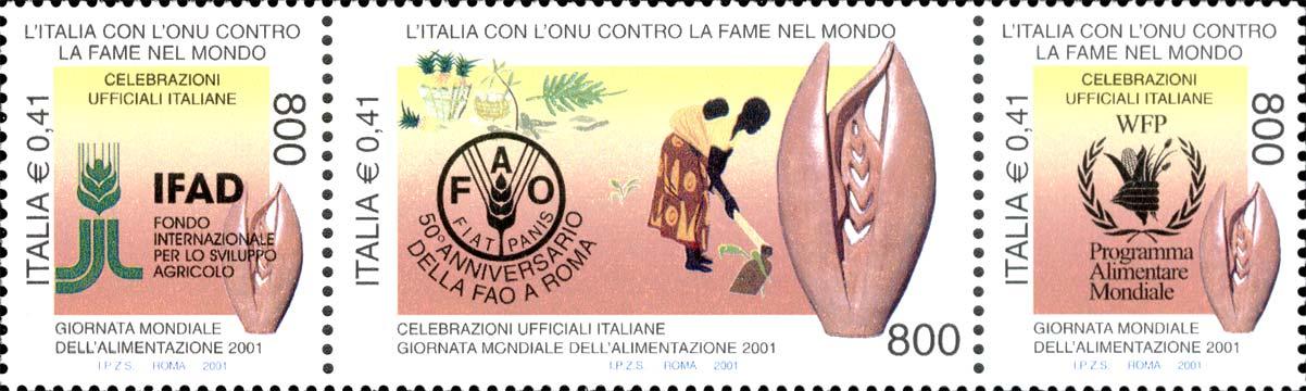 Giornata mondiale dell'alimentazione 2001 - Organismi internazionali umanitari FAO , IFAD , PAM - blocco