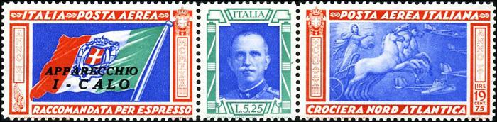 Posta aerea - Crociera Nord Atlantica del Decennale - Roma-Chicago - Bandiera italiana, ritratto di Vittorio Emanuele III e dipinto