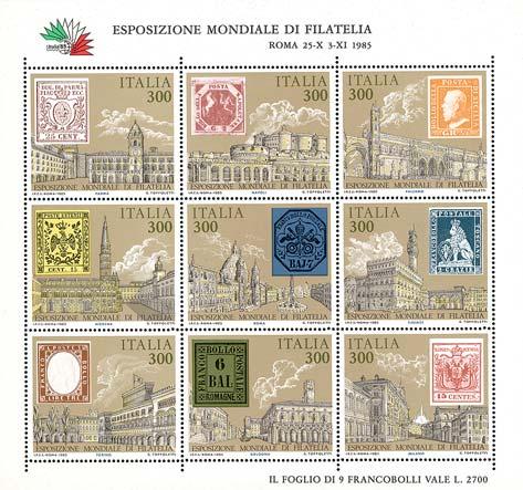 « Italia '85  » - Esposizione internazionale di filatelia a Roma - foglietto n° 2