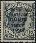 1922 - IX Congresso Filatelico Italiano - Trieste - francobolli del 1906-1919 sovrastampati