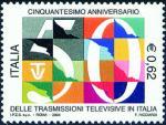 Cinquantenario della trasmissioni televisive in Italia  - disegno di Federico Ricciardi