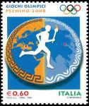 «Pechino 2008» - Giochi Olimpici estivi  - tedoforo su piatto di ceramica