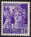 1944 / 45 - Repubblica Sociale Italiana - serie definitiva detta «Monumenti distrutti» - 2ª emissione - senza filigrana - Italia Repubblicana