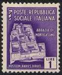 1944 / 45 - Repubblica Sociale Italiana - serie definitiva detta «Monumenti distrutti» - 2ª emissione - senza filigrana - Abbazia di Montecassino