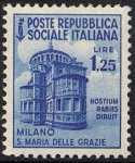 1944 / 45 - Repubblica Sociale Italiana - serie definitiva detta «Monumenti distrutti» - 2ª emissione - senza filigrana - Chiesa di Santa Maria delle Grazie - Milano