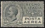 Posta aerea - Effigie di Vittorio Emanuele III entro un ovale - 60 c.