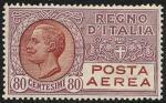 Posta aerea - Effigie di Vittorio Emanuele III entro un ovale - 80 c.