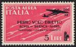 Primo volo diretto Roma-Buenos Aires - tipo del 1930 sovrastampato