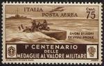 Posta Aerea - Centenario della istituzione delle Medaglie al Valor Militare - Mas,  «cuori di leoni su vigili prore»