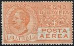 Posta aerea - Effigie di Vittorio Emanuele III entro un ovale - 1,50 L.