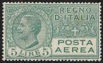 Posta aerea - Effigie di Vittorio Emanuele III entro un ovale - 5 L.