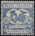 1928 - Recapito autorizzato - Regno  - Stemmi