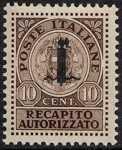 1944 - Recapito autorizzato - R.S.I. - tipo del 1930  soprastampato con il solo fascio