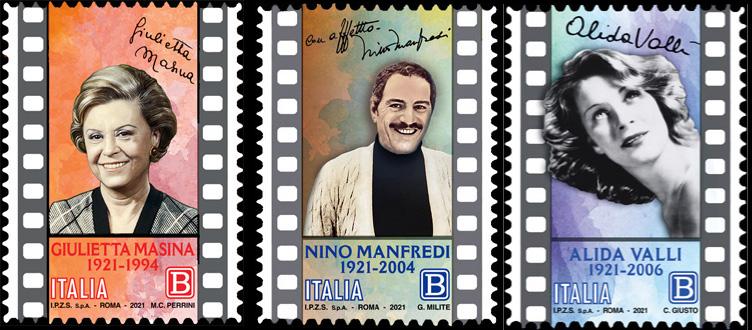 Le Eccellenze italiane dello spettacolo : Giulietta Masina - Nino Manfredi - Alida Valli  - Centenario della nascita