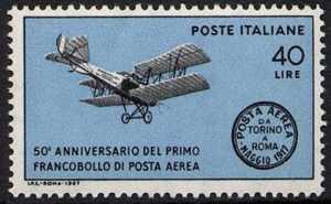 Centenario del 1° francobollo di posta aerea al mondo - L. 40