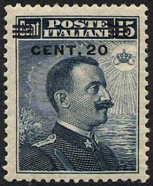 1916 - Francobollo del 1911 sovrastampato con nuovo valore