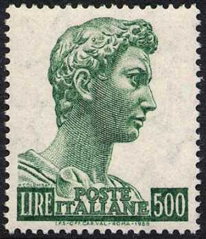 """"""" San Giorgio """" - tipo del 1957 - fluorescente - L. 500"""